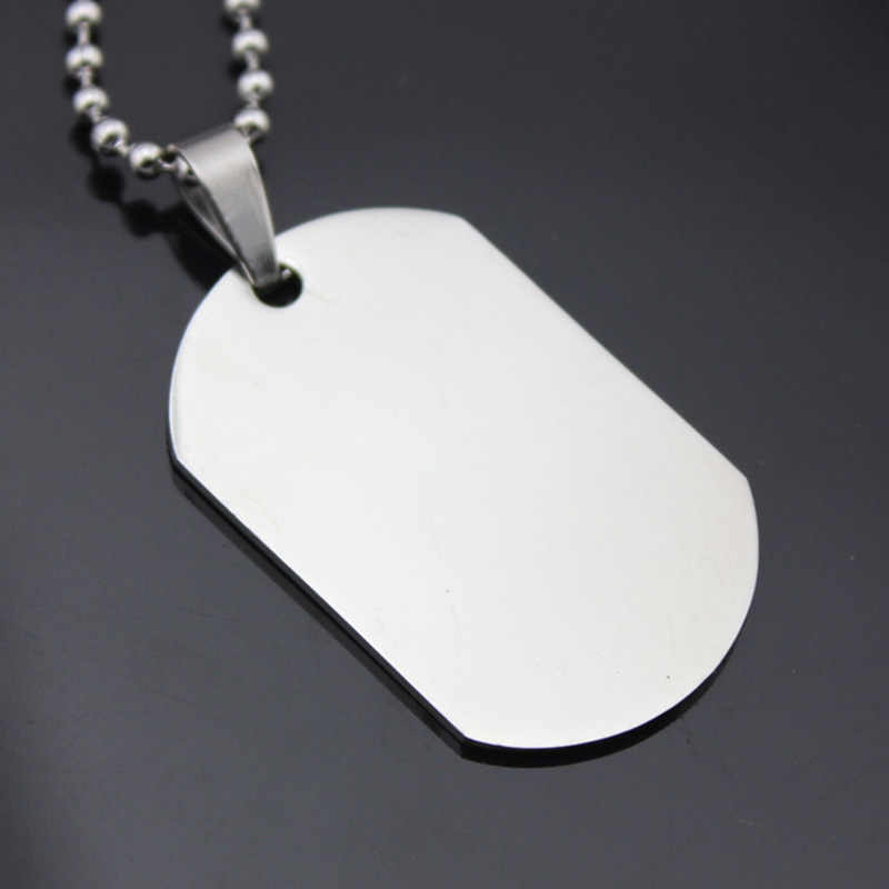 Stainless Steel Dog Tags Necklace Men Women Silver Pendant Blank Ball Chain Statement Charm Choker Fashion Jewelry Accessories