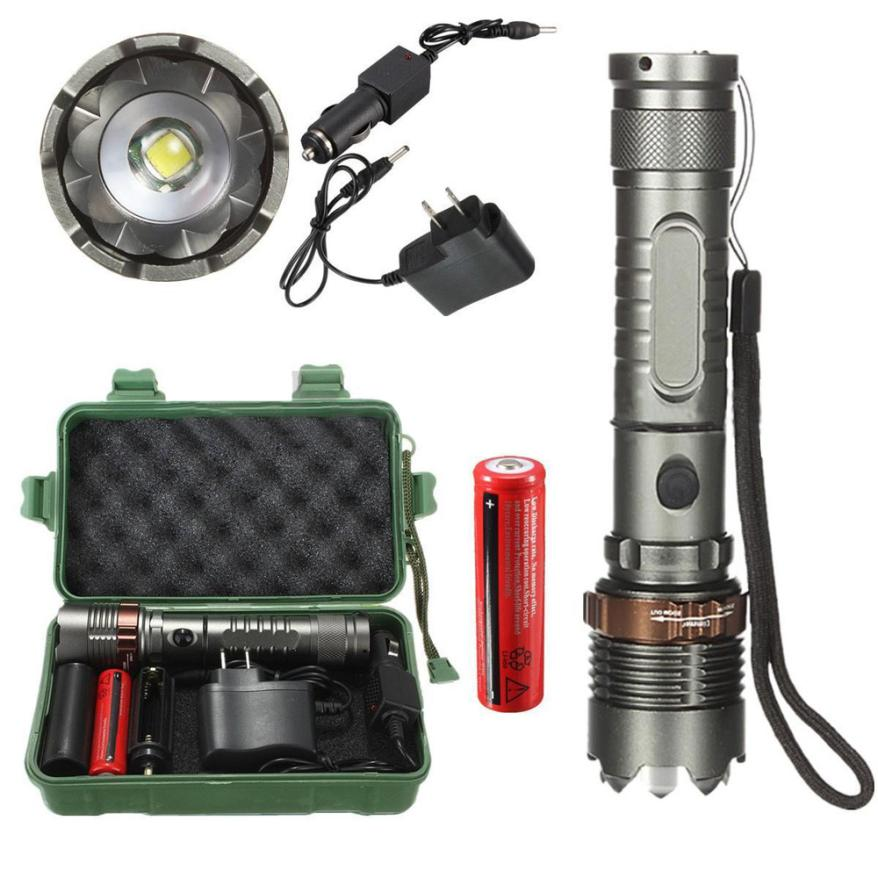 Portable Outdoor Emergencies Bike Light 8000 lumens T6 LED Flashlight Torch Zoomable Tactical + 18650 Battery +Charger + Box P50 cree xml t6 4000lm led flashlight 5 mode zoomable led torch waterproof torch lights bike light for aaa or 18650 battery