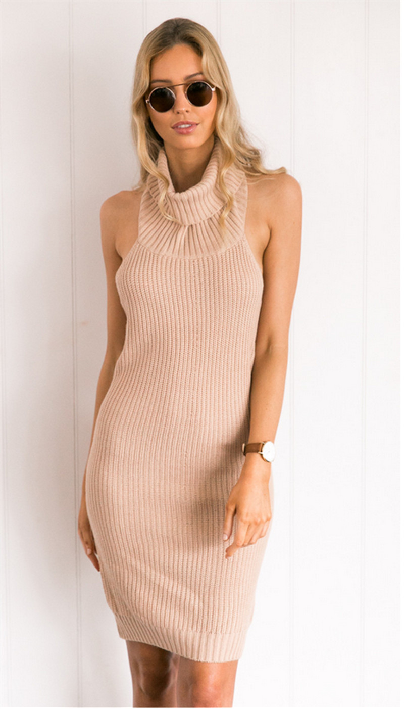 744da20368a Women Backless Folded Turtleneck Cable Knitted Sweater Dress Sleeveless  Bodycon Dresses New Autumn-in Dresses from Women s Clothing on  Aliexpress.com ...