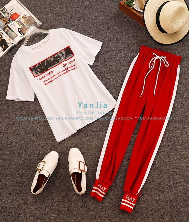 2018 Summer New Fashion Women White Letter Print Casual T-shirts + Elastic Waist Lace-up Side Striped Pencil Pants 2 Piece Sets 8