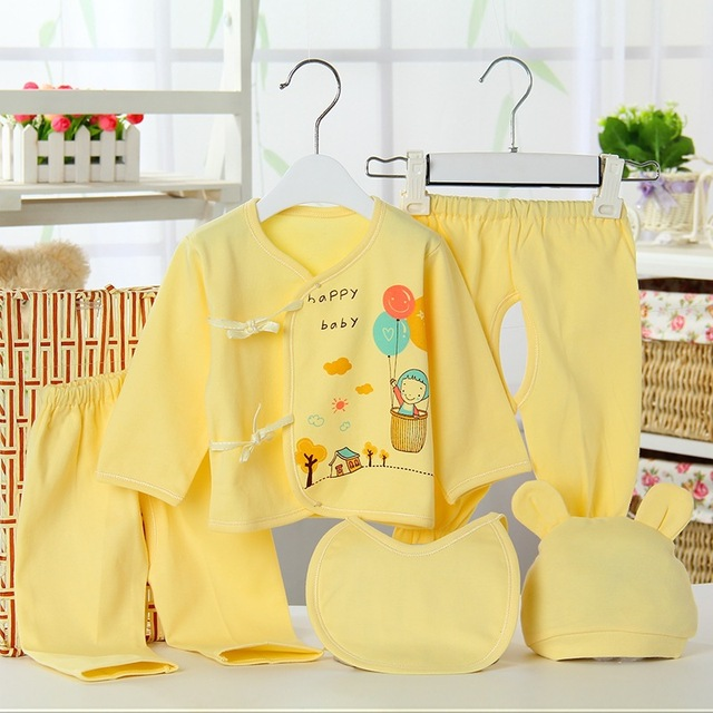 New 5pcs/set Newborn Baby Clothing Set Baby Boy Girl Clothes 100% Cotton Lovely Pattern Underwear Infant Clothing Baby Layette