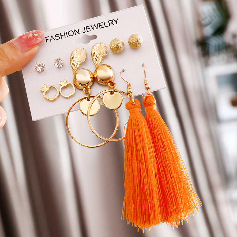 Hot Sale 6 Pairs/Sets 2019 Vintage Gold Color Long Tassel Simulated Pearl Crystal Drop Earrings Set For Women Brincos Jewelry