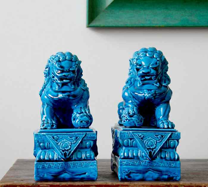 Una Coppia di Porcellana Ceramica Foo Foo Dog Lion