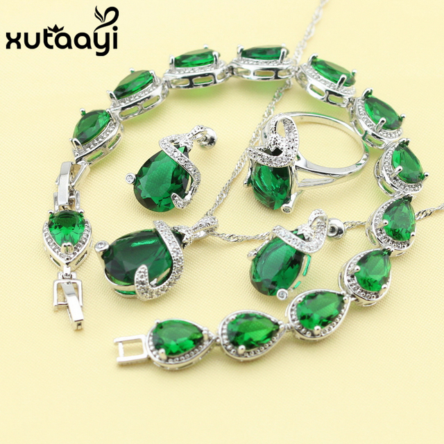 Women Four PieceGreen Created Emerald Fashion 925 Silver Jewelry Sets Fabulous Necklace Ring Earring Bracelet Free Box