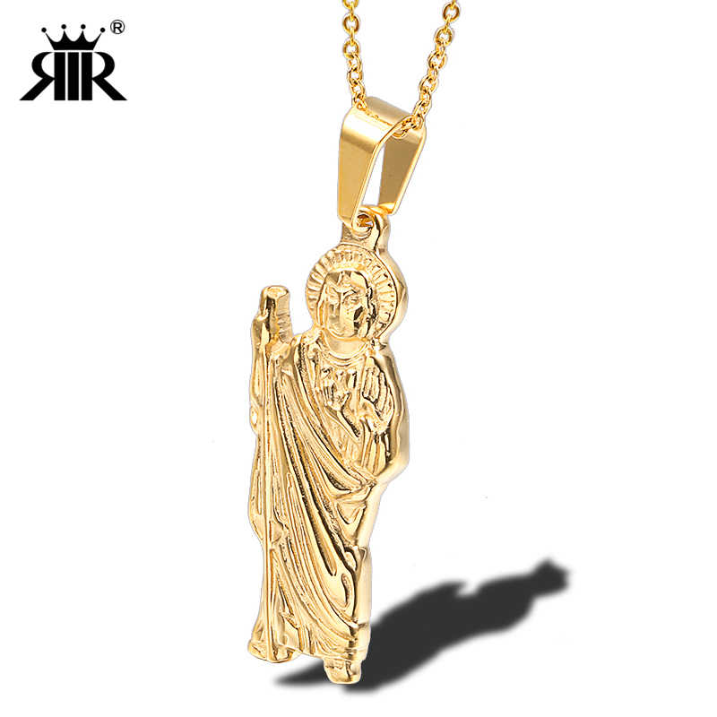 RIR St Jude Thaddeus Pendant Necklace Silver Gold Stainless Steel Saint  Jude Thaddeus Jesus Religious Jewelry For Men Necklaces
