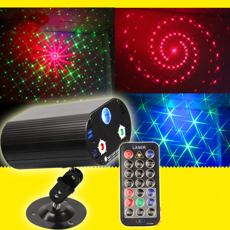 The mini intelligent remote control 3 hole 36 patterns  stage laser light LED red blue green light KTV voice disco rg mini 3 lens 24 patterns led laser projector stage lighting effect 3w blue for dj disco party club laser