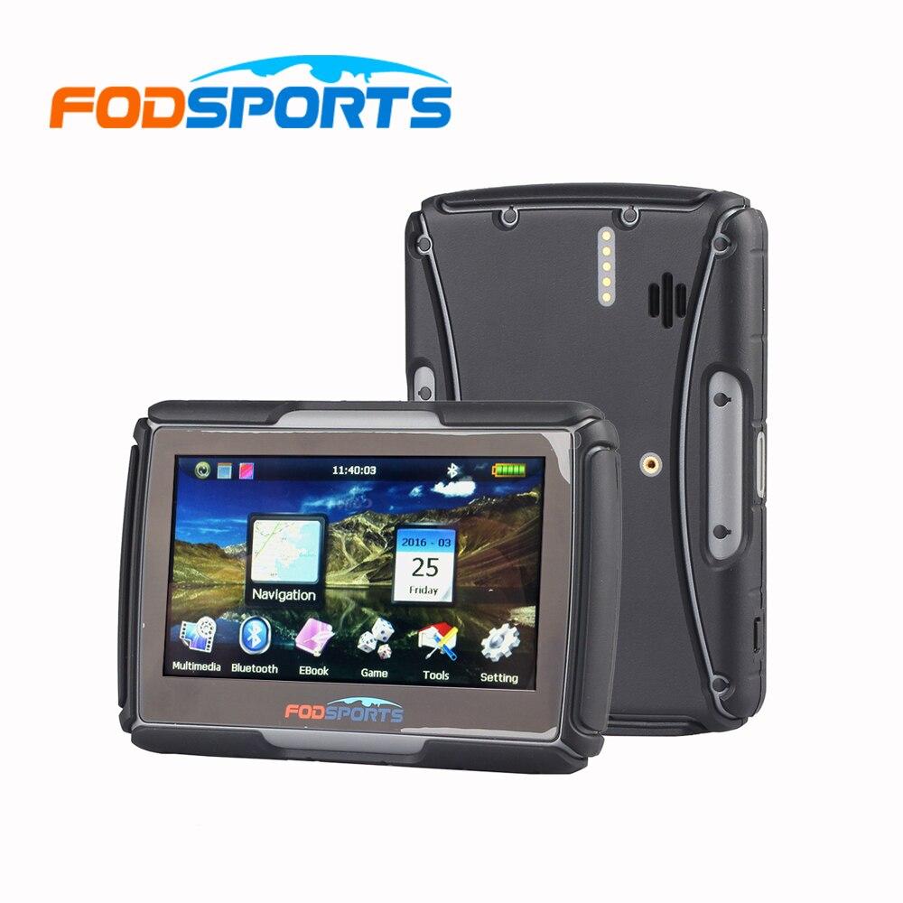 Fodsports IPX7 waterproof motorcycle GPS 4 3 inch FM bluetooth motorbike navigator 8G 256MB RAM Moto