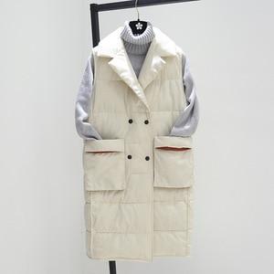 Image 2 - Grande taille XL femmes hiver gilets 2018 nouveau moyen Long gilet coton rembourré veste sans manches femme revers gilet gilet