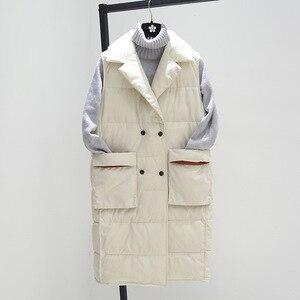 Image 2 - Женские зимние жилеты размера плюс XL, новинка 2018, жилет средней длины, хлопковая стеганая куртка без рукавов, женский жилет с отворотом