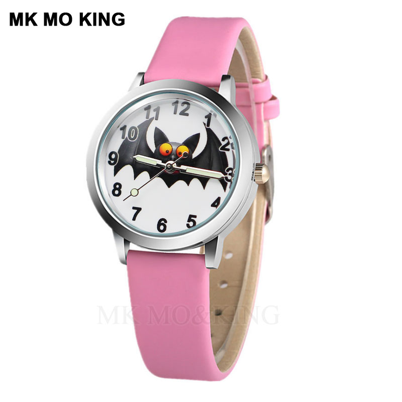 New Purple Bat Hands-on Cartoon Children's Watch Style Color Number Dial Children Students Girl's Leather Quartz Watch Relojes