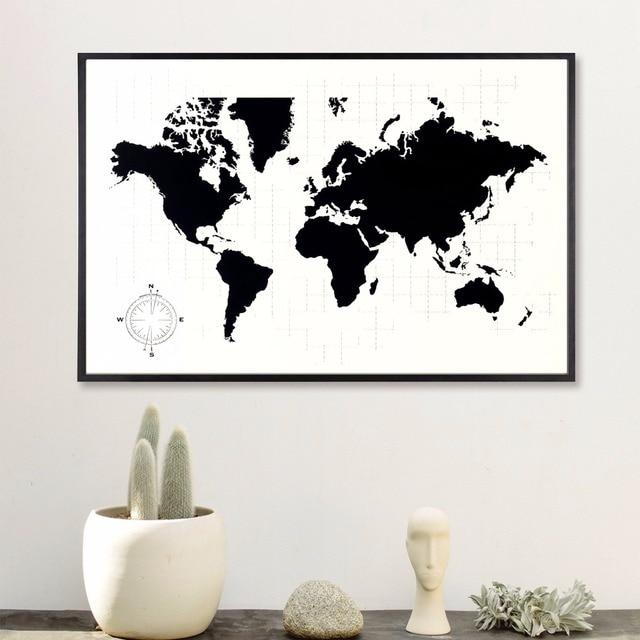 zwart wit wereldkaart vintage canvaskunst schilderij poster muur