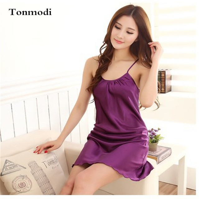 Women Nightgowns Sexy Silk Solid Strap Sleepshirts Night dress Women's Lounge Nightshirt Sleepshirts Ropa Mujer