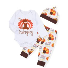 Oklady 3PCs My First Thanksgiving Outfits Newborn Baby Boy Girl Clothes Thanksgiving Romper