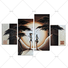 3 Panel Pictures Hand Painted Canvas Home Wall Decoration Oil Painting ancient society Tree Set Modern Abstract