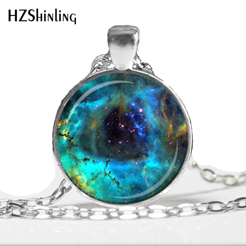 HZ--A185 ROSETTE NEBULA PENDANT Hubble Image Astronomy Necklace Navy Blue Aqua Nebula Jewelry Science Pendant HZ1 image