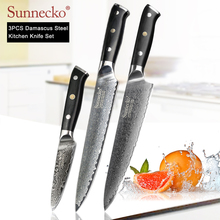 SUNNECKO Professional 3PCS Kitchen Knives Set Chef Slicing Paring Knife Damascus Japanese VG10 Steel G10 Handle Meat Cutter Tool