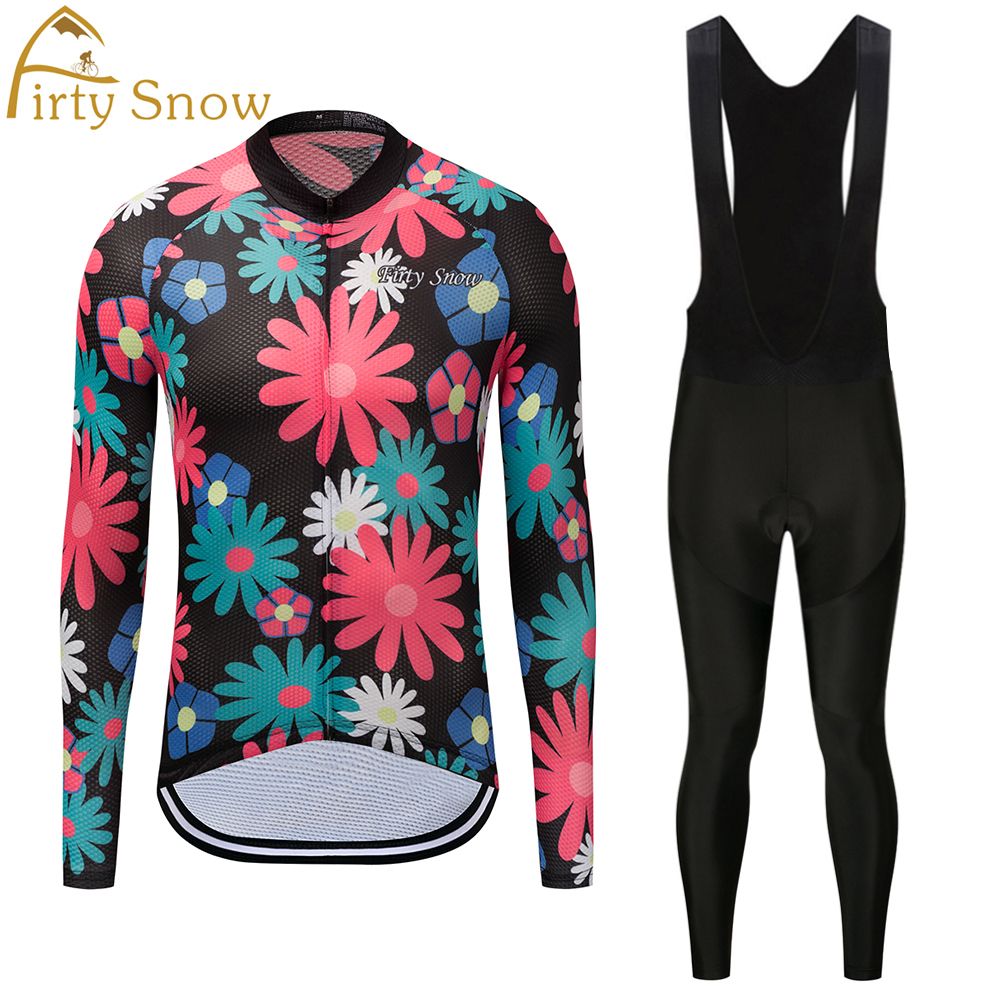 Firty sonw2018Cycling Jersey Mens long Sleeve Bicycle Cycling Clothing Bike Wear Shirts Outdoor Maillot Ropa Ciclismo Bib Pants
