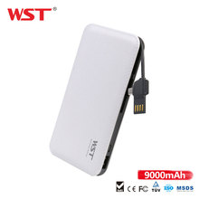 WST 9000mAh Power bank with Build in Cable Ultra Thin Li-Pol