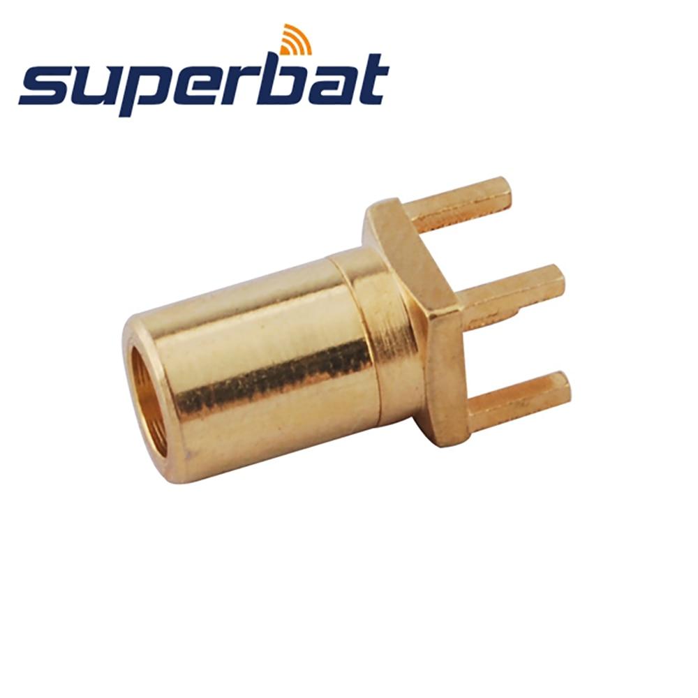 Superbat 10pcs SMB Plug Male Straight Thru Hole PCB Mount RF Coaxial Connector