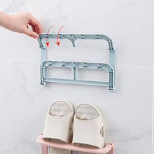 New Foldable Plastic Wall Shoe Rack Self-adhesive Shoe Holder Hanging Shoe Organizer Display Shelf Home Storage Shoe Supplies DA(China)