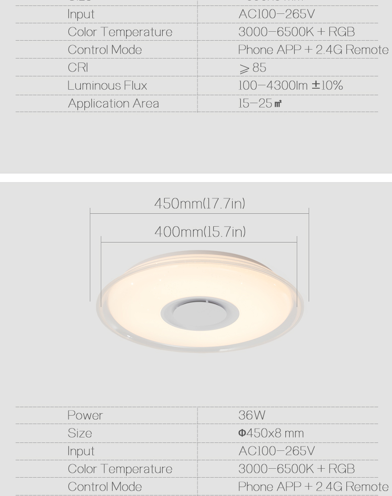 HTB1qXihbfb2gK0jSZK9q6yEgFXaI Modern LED ceiling Light RGB Remote control 36W 52W ceiling lamp APP Bluetooth Music living room lamps bedroom ceiling+lights