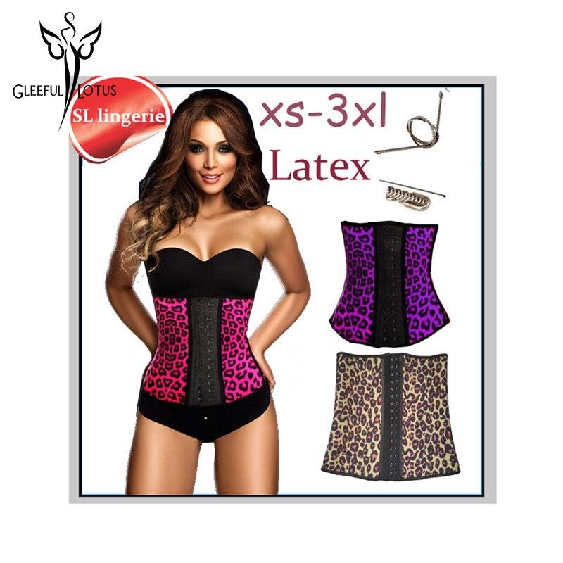 Leopard latex waist trainer plus size waist Trainer corset korsett for women corsets and bustiers fajas modeladoras reductoras