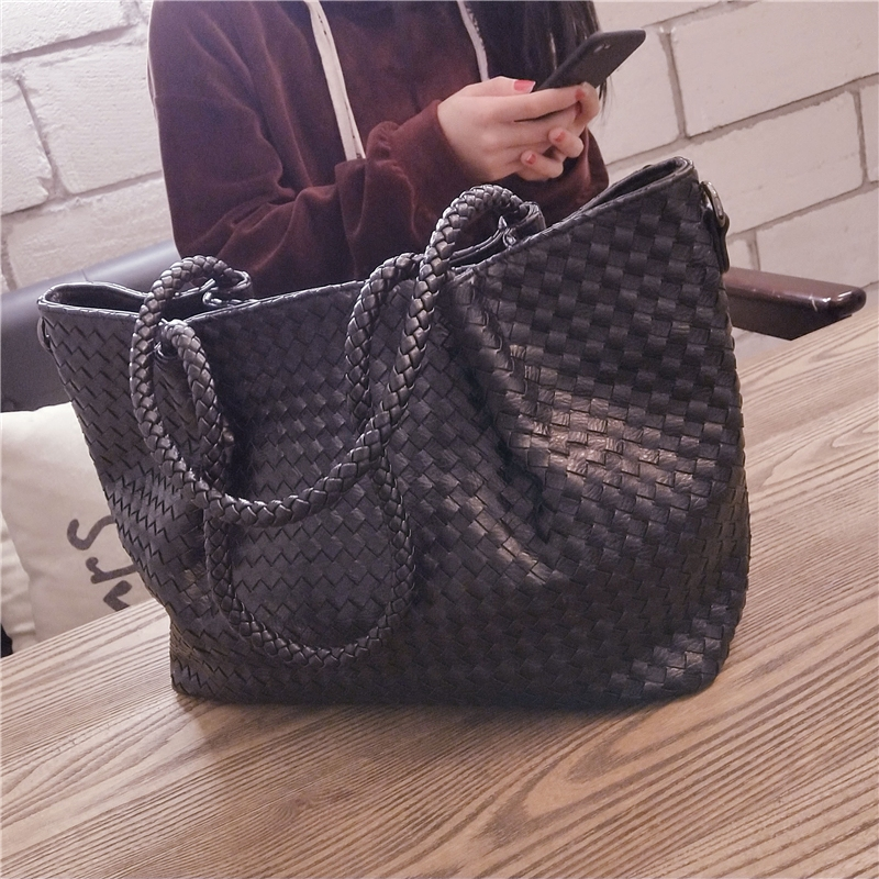 BENVICHED Ladies' Pu Woven Bag 2019 New Spring Tote Bag Fashion High-capacity Handbag Women Inclined Single Shoulder Bag C422