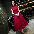 2016 Hot Red Lace Comprimento Chá Vestido De Noite Primavera Verão Fino Bridemaid Vestido Formal do baile de Finalistas Vestido Feito Sob Medida 8 cores