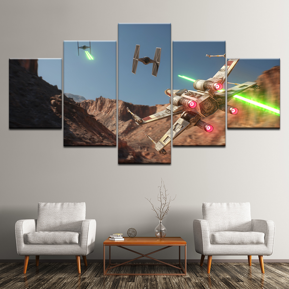 Canvas Painting game Star Wars: X-Wing vs. TIE Fighter 5 Pieces Wall Art Painting Modular Wallpapers Poster Print Home Decor