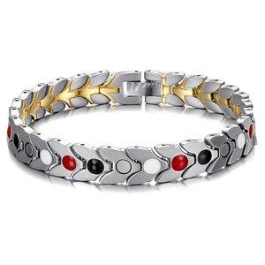Image 2 - RainSo Unisex Hologram Bracelets Relieve Fatigue Germanium Magnetic Bracelets & Bangles Steel Wristband Jewelry for Arthritis
