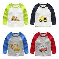 1-7A 2016 novos Meninos T-shirt Do Bebê Do Menino da marca t camisas Dos Miúdos t-shirt Crianças t-shirt de Algodão de Manga Longa Carros caminhão de Bombeiro de Qualidade Superior