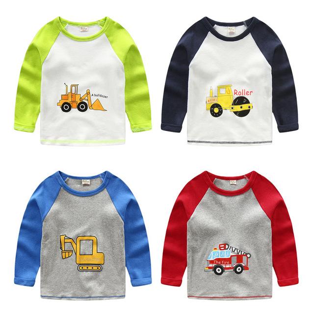 1-7Y nueva 2016 Camiseta de Los Muchachos de Bebé marca camisetas camisas de Los Niños Coches camiones Bombero camisetas Niños camisetas de Algodón de Manga Larga de Calidad Superior