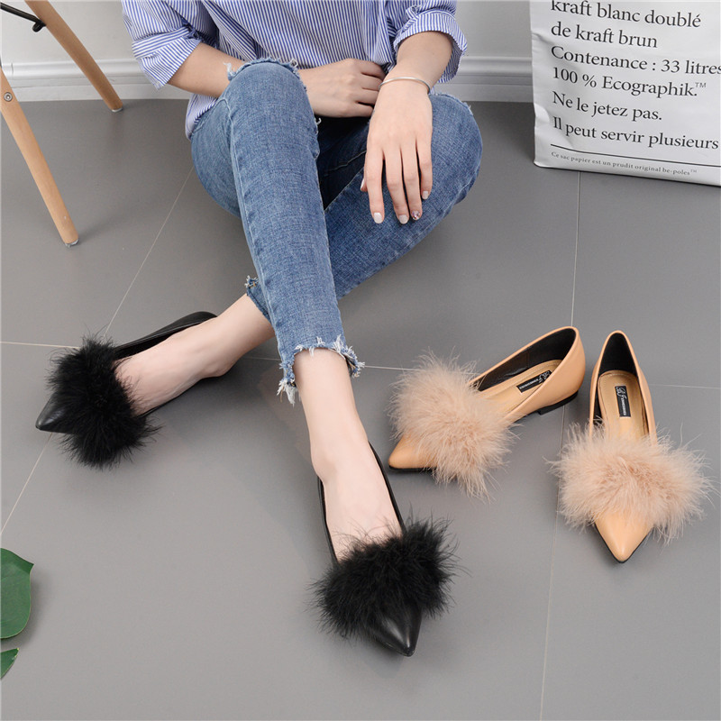2017 Autumn Women Pointed Toe Ostrich Fur Flats Shoes Slipony Ballet  Loafers Wedding Nude Designer Brand Chiara Ferragni Mules cbb2ee070cf5