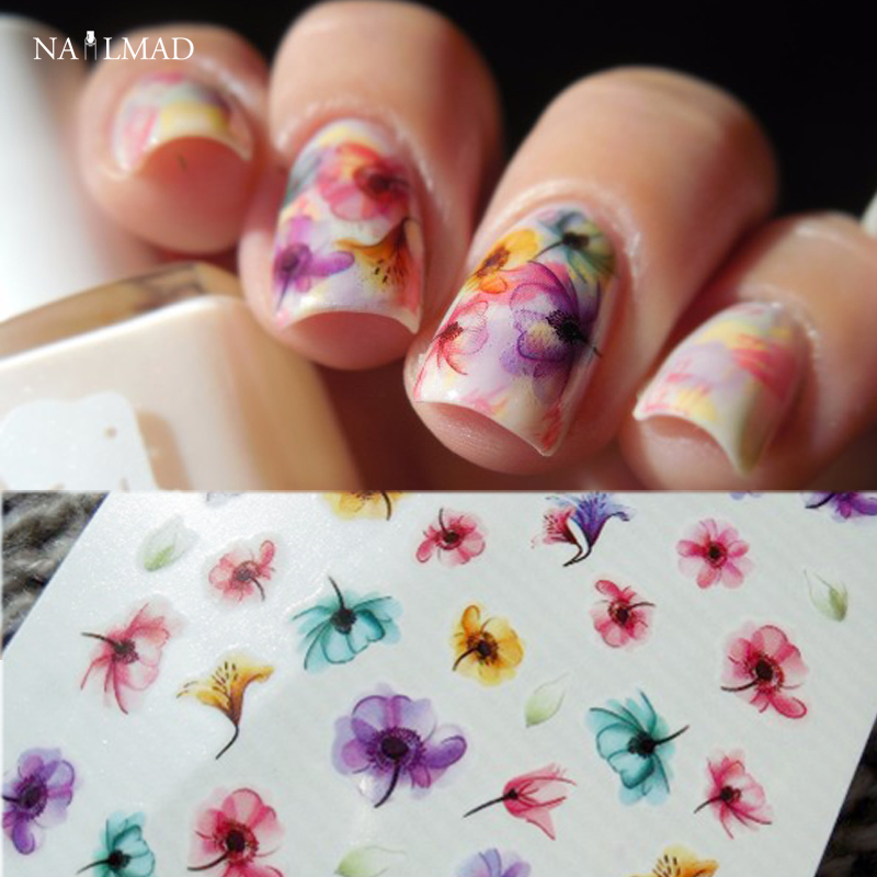Nail Art Stickers: 1 Sheet Gradient Nail Water Decals Transfer Stickers