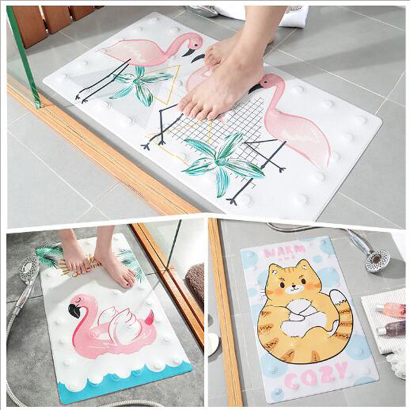 Cute Flamingo Cats Multipurpose Rubber Bath Mat For Shower Spa Sauna With Non Slip Feet Indoor Outdoor Use For Kitchen Bedroom