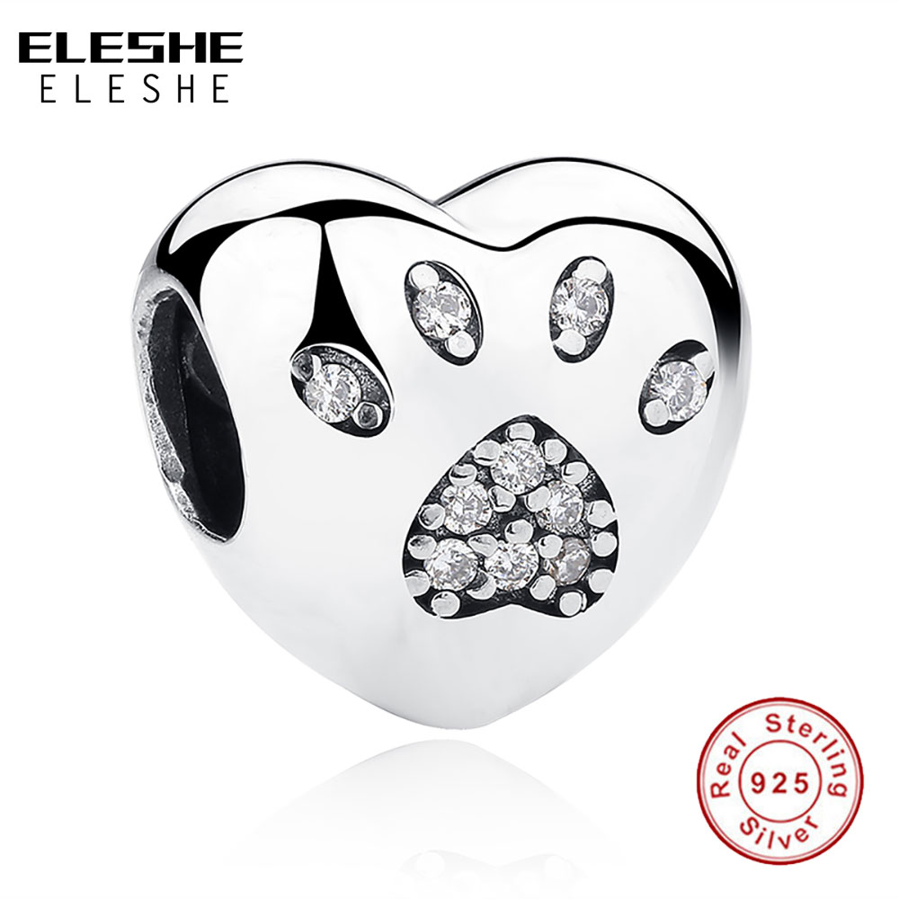 ELESHE 925 Sterling Silver Bead European Love Heart Pet Dog Paw Print Crystal Charms Fit Original Bracelet Fashion DIY Jewelry