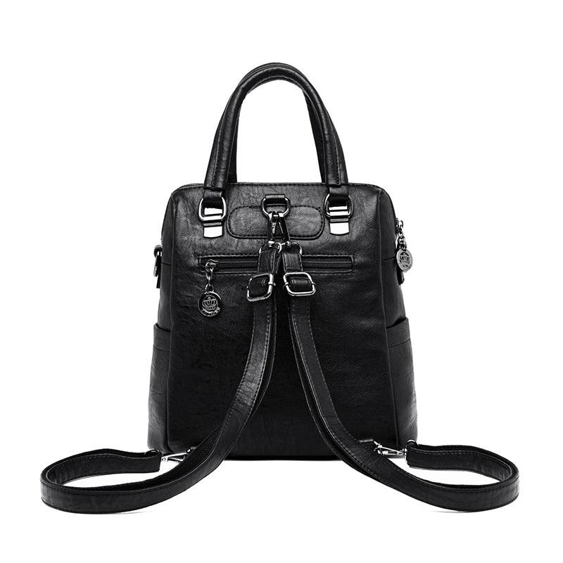 HTB1qXjjdi6guuRkSnb4q6zu4XXa1 3-in-1 Women Leather Backpacks Vintage Female Shoulder Bag Sac a Dos Travel Ladies Bagpack Mochilas School Bags For Girls Preppy