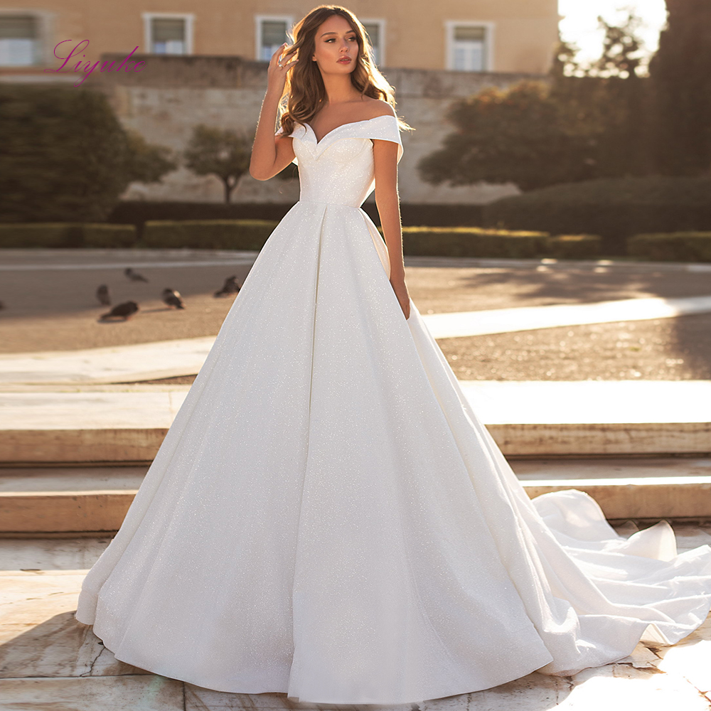 Liyuke Ball Gown Married Wedding Dress 2019 Simple Design Lustrous Satin Off-the-shoulder Customized Free Shipping