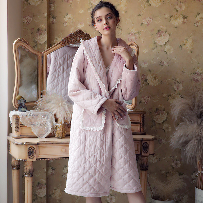 Pregnant Pajamas Autumn Winter Nightdress Women Jacquard Warm Fashion Cotton Pijama Lounge Clothes Maternity Sleepwear YFQ257 bear print nightdress