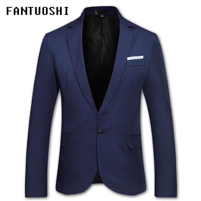 2018 New Men Blazer Jackets Slim Leisure Suit Mens Overcoat Blazer Hombre Masculino Black red navy blue Blazer For Men