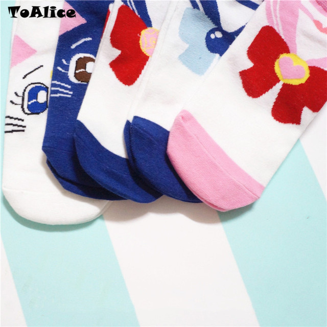 Anime sailor moon Cosplay tobillo Calcetines Mujer algodón invisible pajarita corto calcetín niñas señora lindo gato calcetín zapatillas