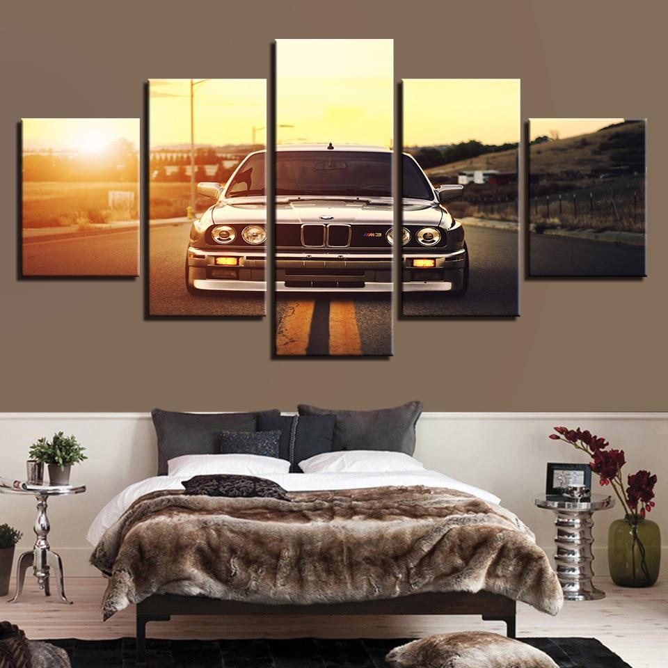 US $5.65 42% di SCONTO|Moderno HD Muro Stampato Art Cornice Quadri Su Tela  5 Pezzi Auto sportive Tramonto Paesaggio Pittura Poster Home Decor For ...