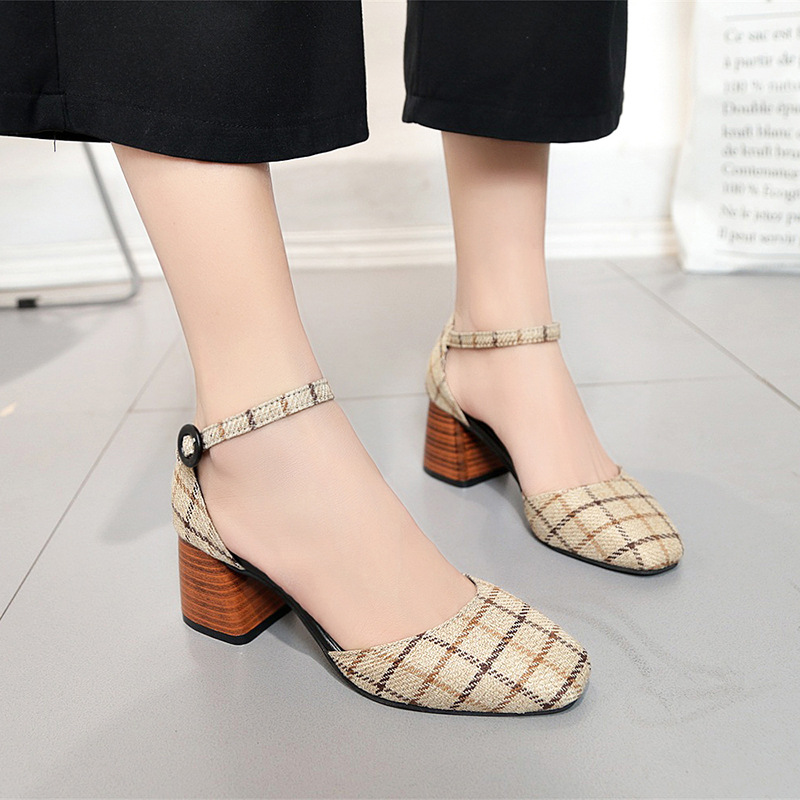 High Heels Shoes Women Pumps Square Toe Summer Sandals Thick Heels Plaid Casual Good Quality Female Office Shoes Comfortable 3