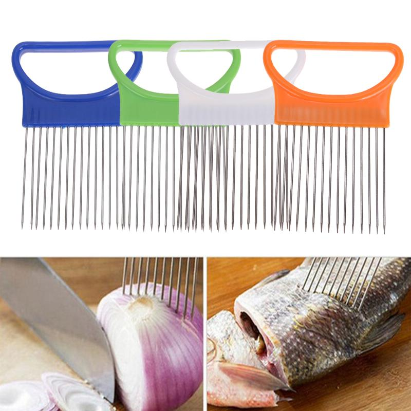 Onion Slicer For Slicing Vegetable Cutter Multifunctional Cutting Aid Guid Onion Tomato Holder Stainless Steel Kitchen Tools