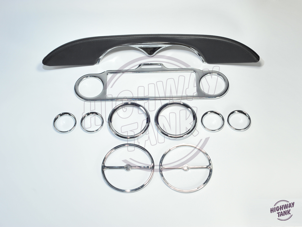 9pcs Chrome Stereo Accent Speedometer Speaker Trim Ring and Interior cover decoration For Harley Electra Glide