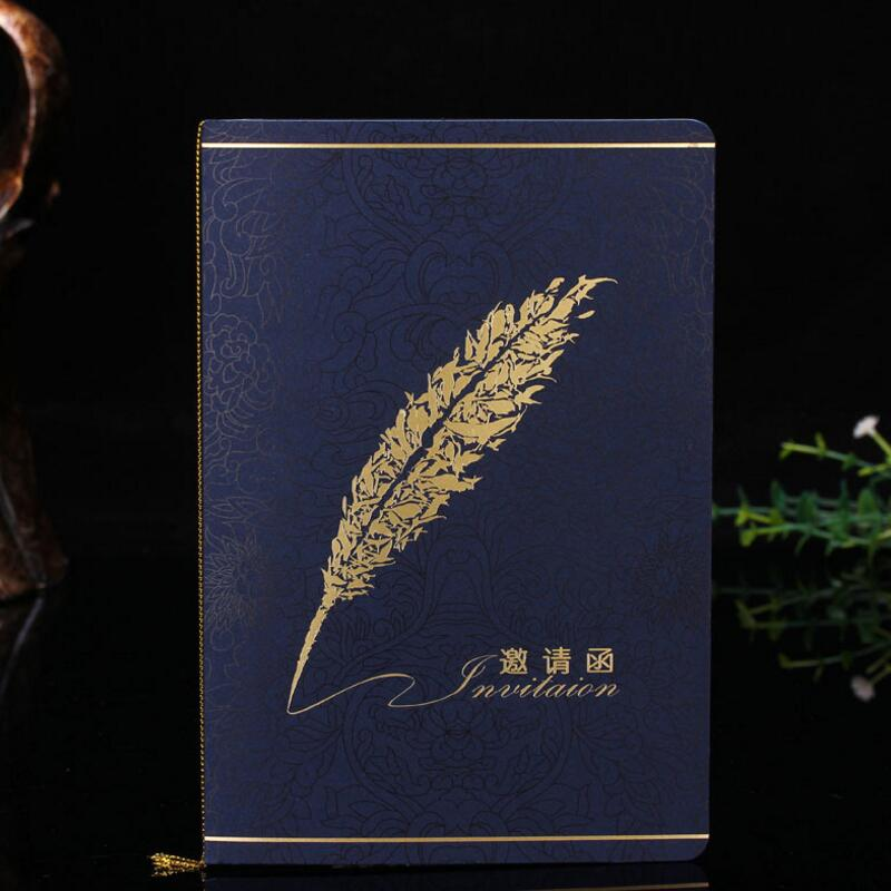 20pcslot creative feather print folding paper card high