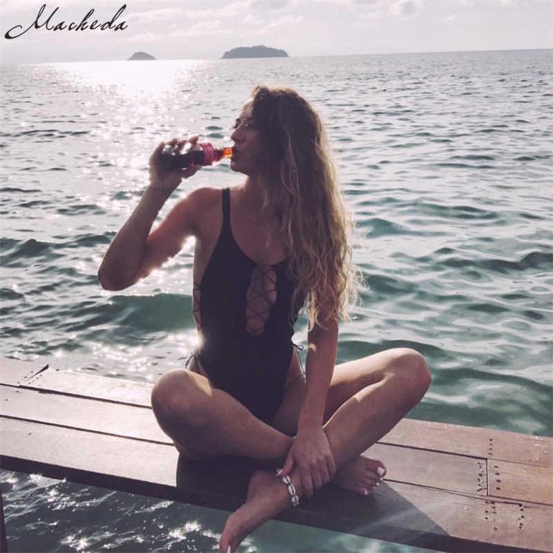 Macheda Sexy Deep V Lace Up Skinny Bodysuit mujer moda verano sólido básico sin espalda Casual ajustado Bodysuit 2019 nueva llegada