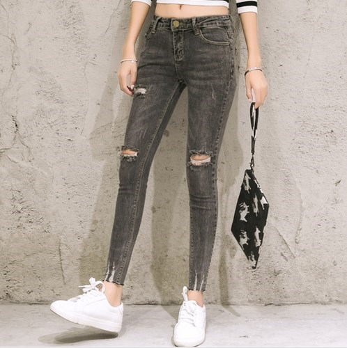 2017 Ankle Length Distressed Ripped Jeans For Women Push Up Skinny