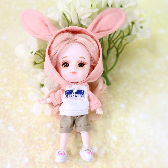 Clothes For 1/8 BJD Middle  DODO ob11 doll cute rabbit clothes with shorts high quality soft clothes for 20cm bjd