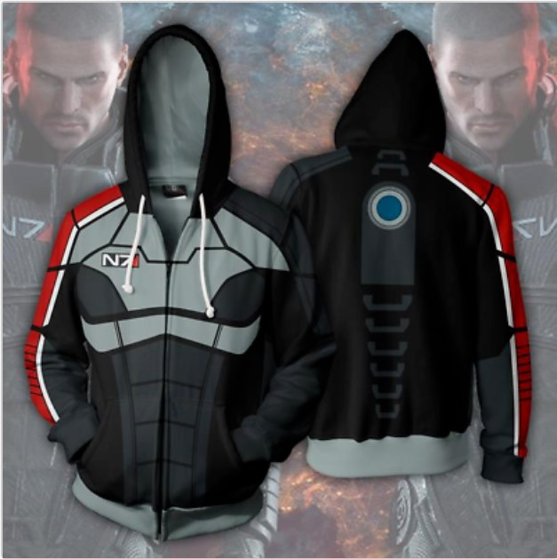 New Mass effect JohnShepard N7 Cosplay Hoodie Hooded Hot Sweatshirt  Jacket Costume Coat